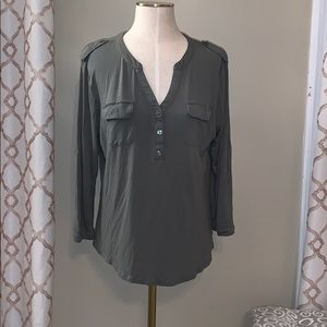 New York & Co Olive Green Lace Back Top